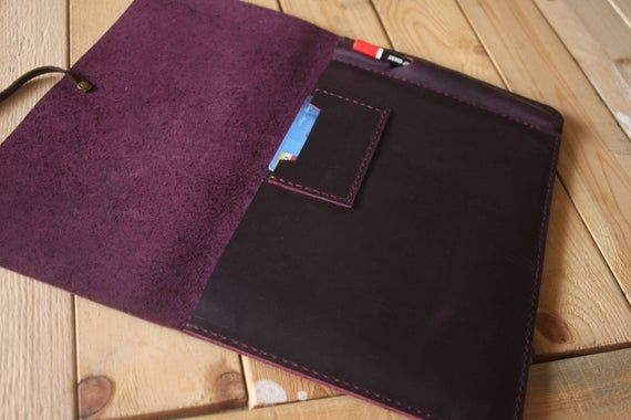 Purple Macbook Sleeve, MacBook Pro 13 Case, Leather 12″ MacBook Air Covers, Hand sticthed 14 inch La