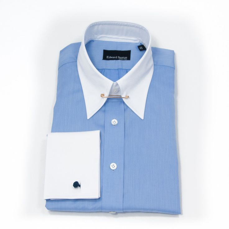 Edward Sexton Blue Pin Collar Shirt With White Collar And