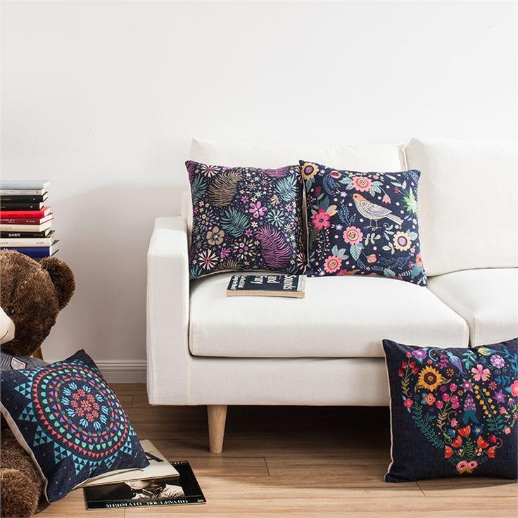 クッションカバー 抱き枕カバー 枕カバー 北欧 リネン トリ&花柄 4点