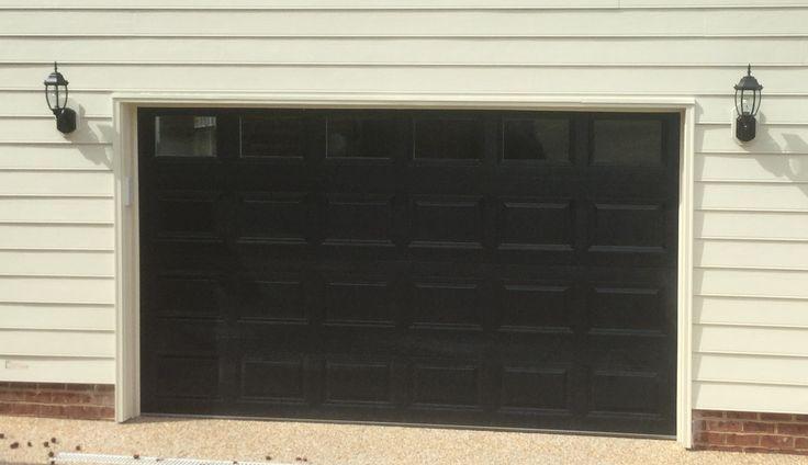 12x7 Model 2216 Raised Short Panel Steel Garage Door Black With Top Clear Glass Installed By The Richmond Home Building Design Garage Doors Steel Garage Doors