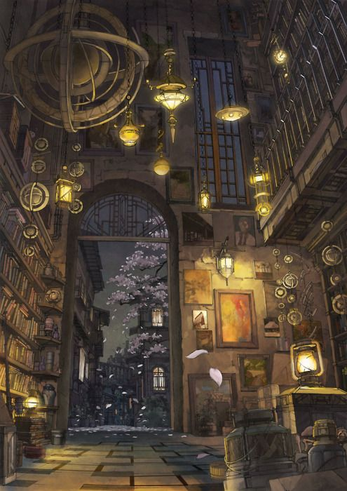 K,Kanehira - beautiful room, décor, library, tree, flowers, lighting...might be my newest favorite artist...definitely going to be checking this person out!!!!