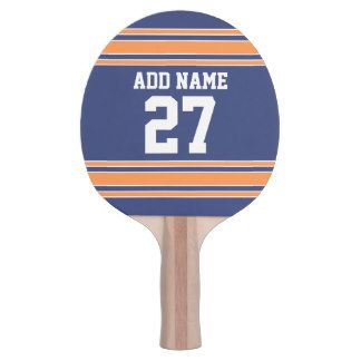 Blue Orange Sports Jersey with Your Name & Number Ping-Pong Paddle