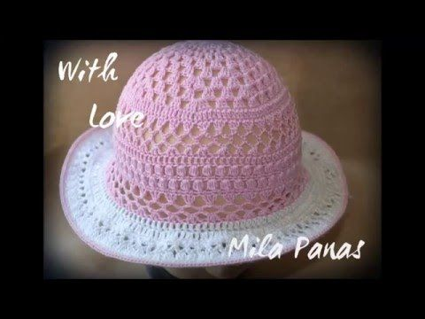 Вяжем крючком - шляпка на лето на проволочном каркасе - YouTube