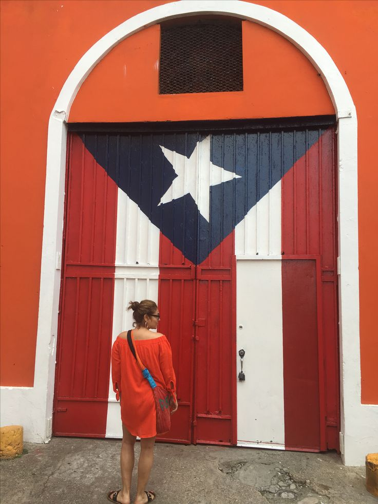 Old San Juan. Puerto Rican flag
