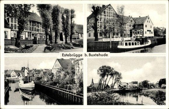 Ansichtskarte / Postkarte Estebrügge Jork im Kreis Stade, Salondampfer, Geschäft, Ortschaft   akpool.de