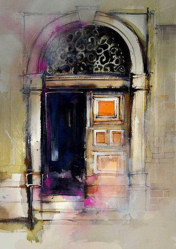watercolor doorway using gesso glazes