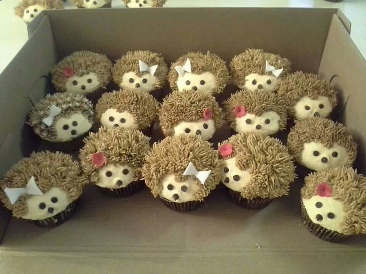 Hedgehogs cupcakes! I don't think I could eat them, they are so cute.(Cute Baking Treats)
