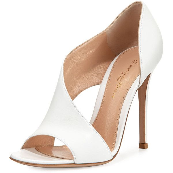 Gianvito Rossi Leather Open-Side d'Orsay Pump (1,105 CAD) ❤ liked on Polyvore featuring shoes, pumps, heels, zapatos, sapatos, white, white heel shoes, white leather shoes, white leather pumps and high heel shoes
