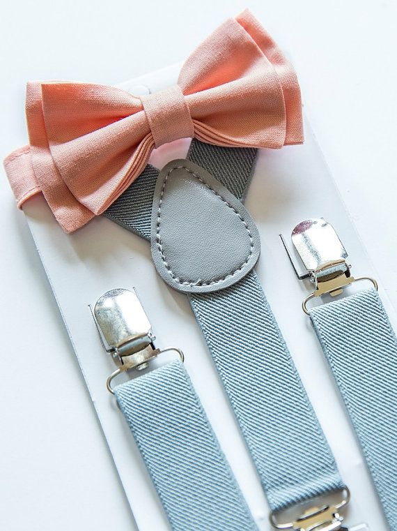 Suspenders Bow Tie  Peach Bow Tie  Grey Suspenders  by armoniia