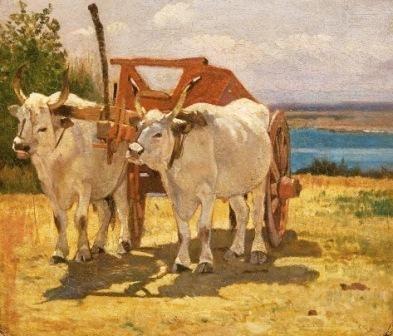 Giovanni Fattori - bovi bianchi al carro - Museo civico Giovanni Fattori, Villa Mimbelli, Livorno.