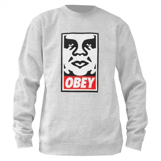 OBEY Icon Face sweat-shirt crew-neck black - heather grey 69€ #obey #sweat #sweater #sweatcrew #crewneck #fleece #winter #pull #pullover #skate #skateboard #skateboarding #streetshop #skateshop @April Gerald Skateshop