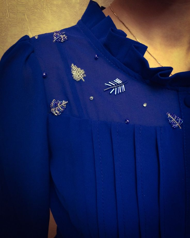 Royal Blue Beaded Blouse by Arijey on Etsy. Beading ideas. Exclusive clothes.