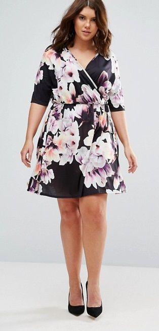 Plus Size Wrap Floral Dress
