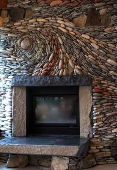 river stone fireplace.