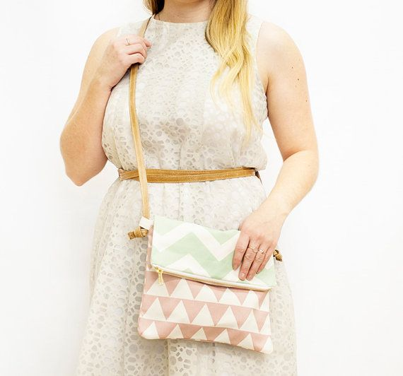 Mint Chevron and Pink Triangle Fold Over Sling Bag with Genuine Leather Strap