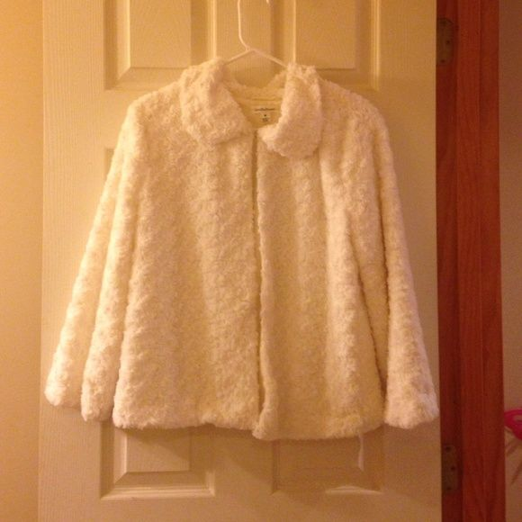White Faux fur jacket Adorable white jacket! Faux fur outside polyester inside. Got from Macy's for a special occasion but never ended up wearing it. Has 3 clasps down the front. Jackets & Coats