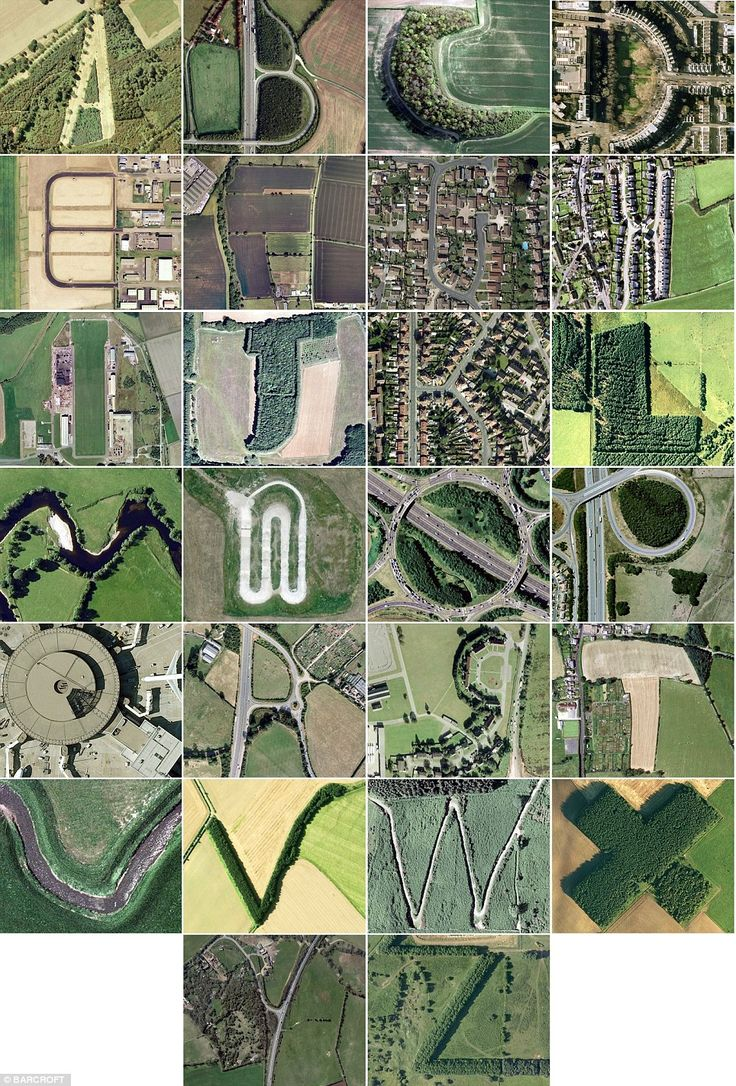 Pictured: The Google Earth alphabet found in Britains hedgerows, roads and buildings