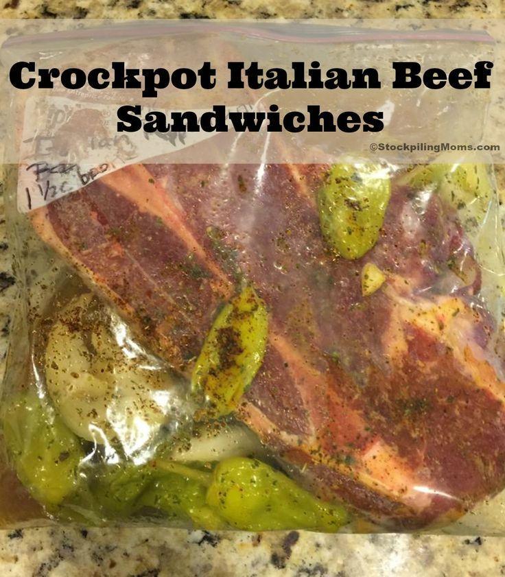 Crockpot Italian Beef Sandwiches is a great healthy freezer meal recipe!