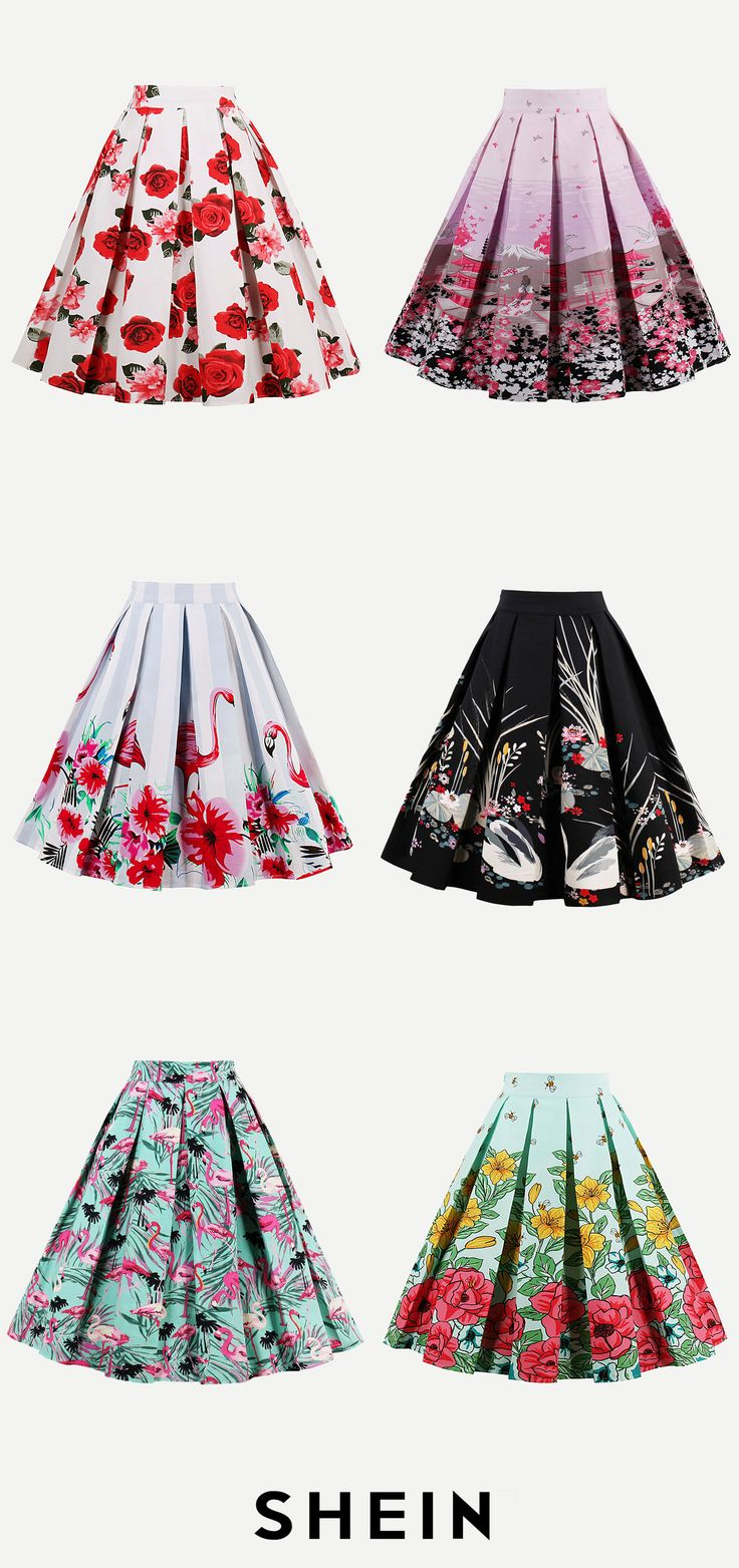 Print Box Pleated Skirt