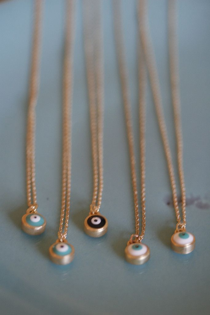 tiny gold evil eye necklace