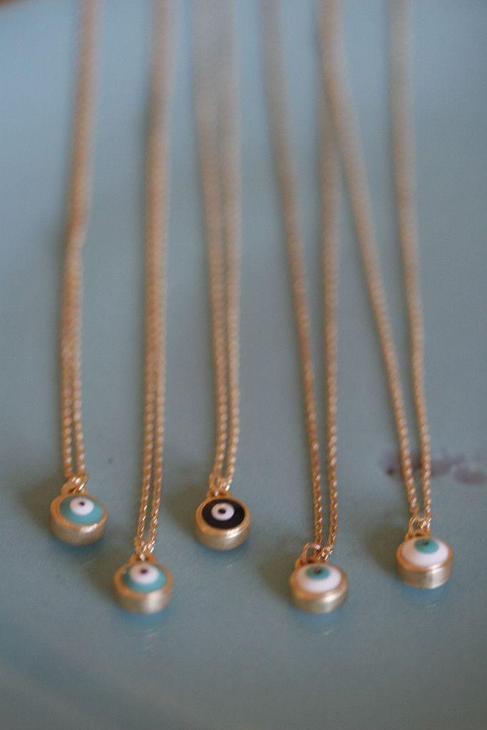 tiny gold evil eye necklace