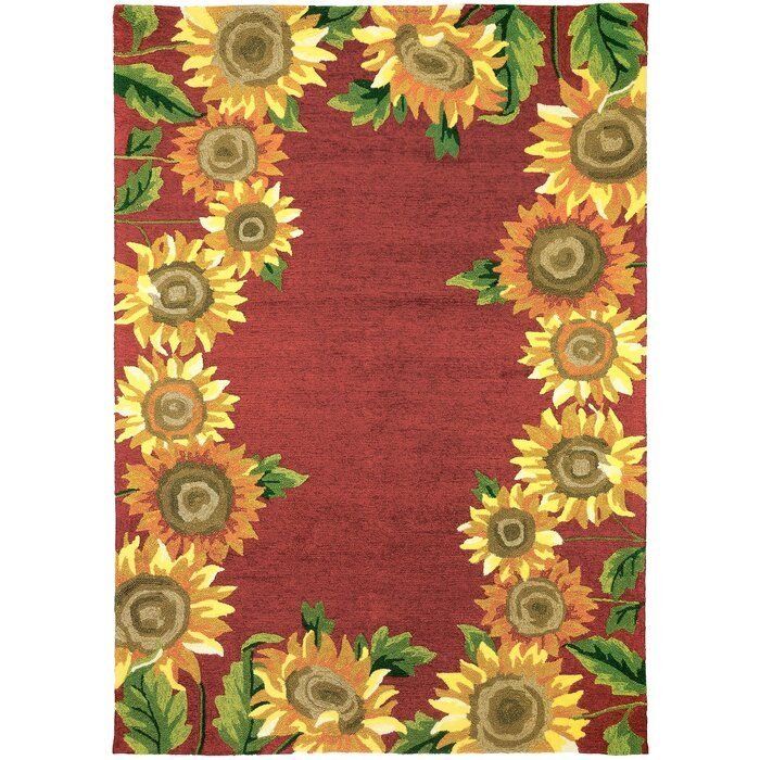 Valois Floral Hand Hooked Red Yellow Indoor Outdoor Area Rug Indoor Outdoor Area Rugs Outdoor Area Rugs Outdoor Rugs