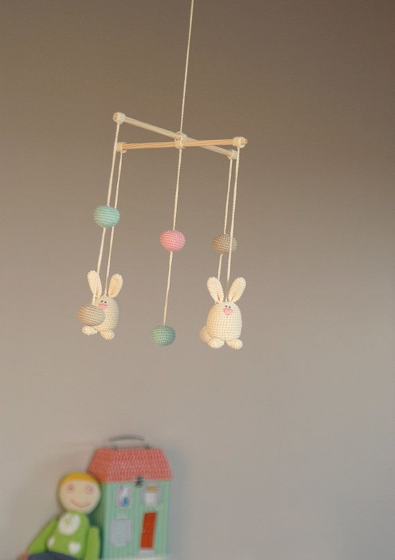 Crochet Bunny/Ball Mobile  Baby ivory/pink/mint by YarnBallStories