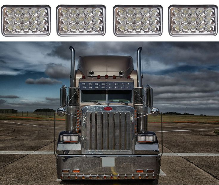 "Nice Great (4) 4x6"" 45W LED Headlights For Kenworth Peterbilt Freightliner New Free Ship 2017-2018"
