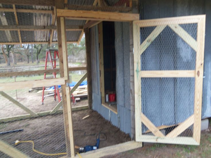 A peoplesized screen door for easy access laying hens