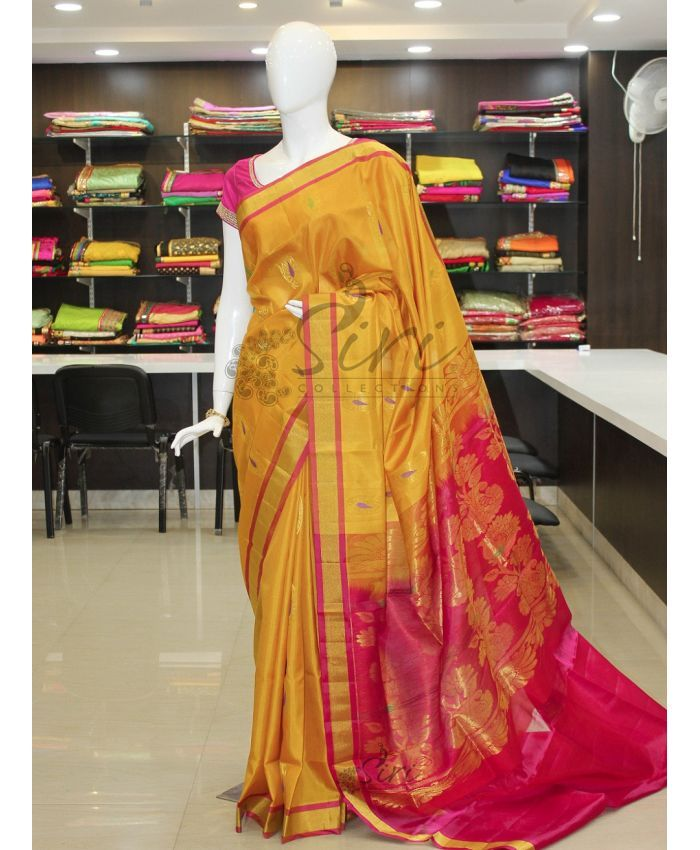Yellow Pink Pure Uppada Silk Saree