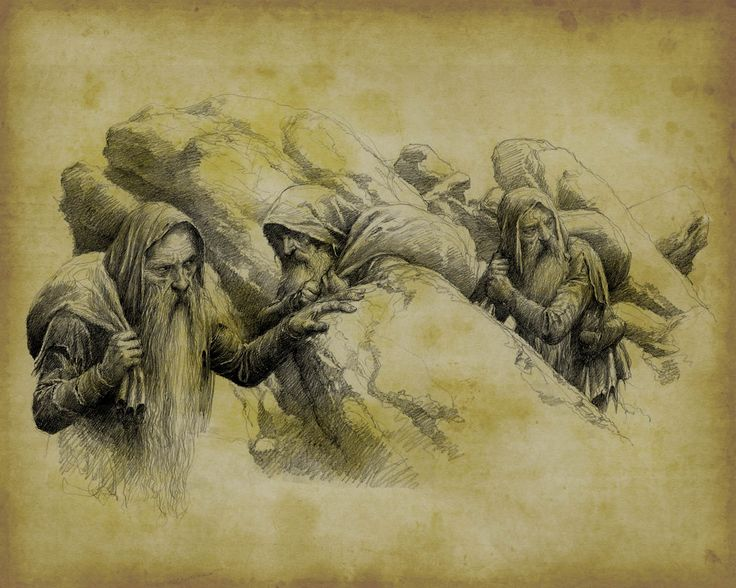 Alan Lee - The Petty Dwarves, really like the way the sketch emerges from the paper