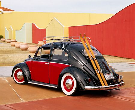 1955 Vw Bug European Oval Window Roof Rack Red And Black
