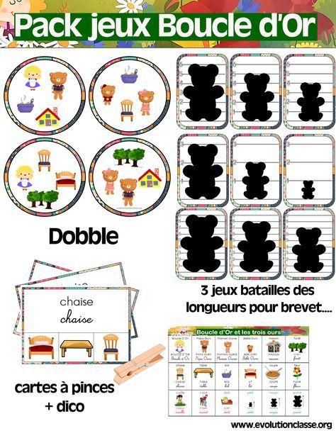 Voici un petit pack de jeux pour mettre en place des ateliers en Maternelle sur le thème Boucle d'Or et les 3 Ours . A suivre, un article sur un projet appelé « Les matinées de Bou…