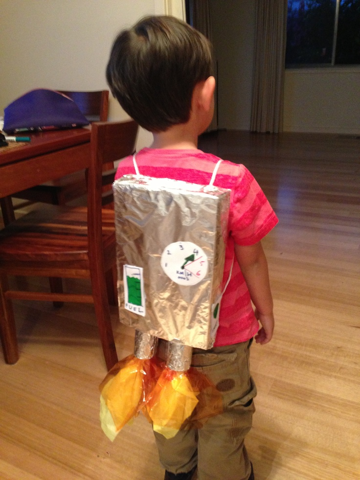 Rocket backpack! Cereal box, foil and cellophane paper ...