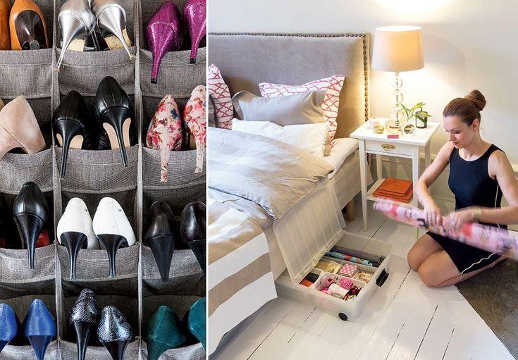 Smart oppbevaring av sko i hyller eller under sengen.