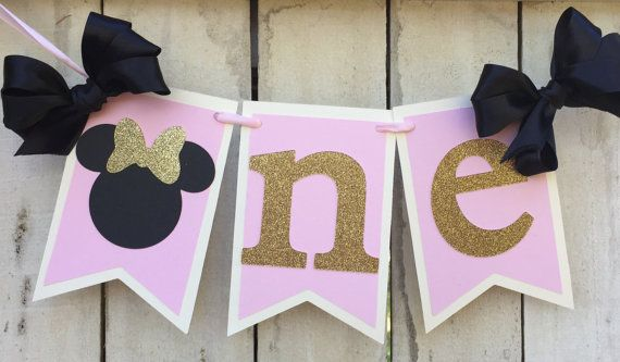 Minnie Mouse Pink and gold birthday HIGH CHAIR banner Minnie Mouse party pink gold Minnie Mouse 1st birthday Minnie Mouse birthday ideas