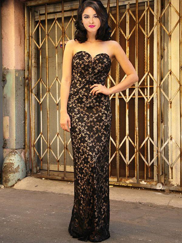 LA DIVA ゴージャスな総レースのベアトップロングドレス(ブラック)