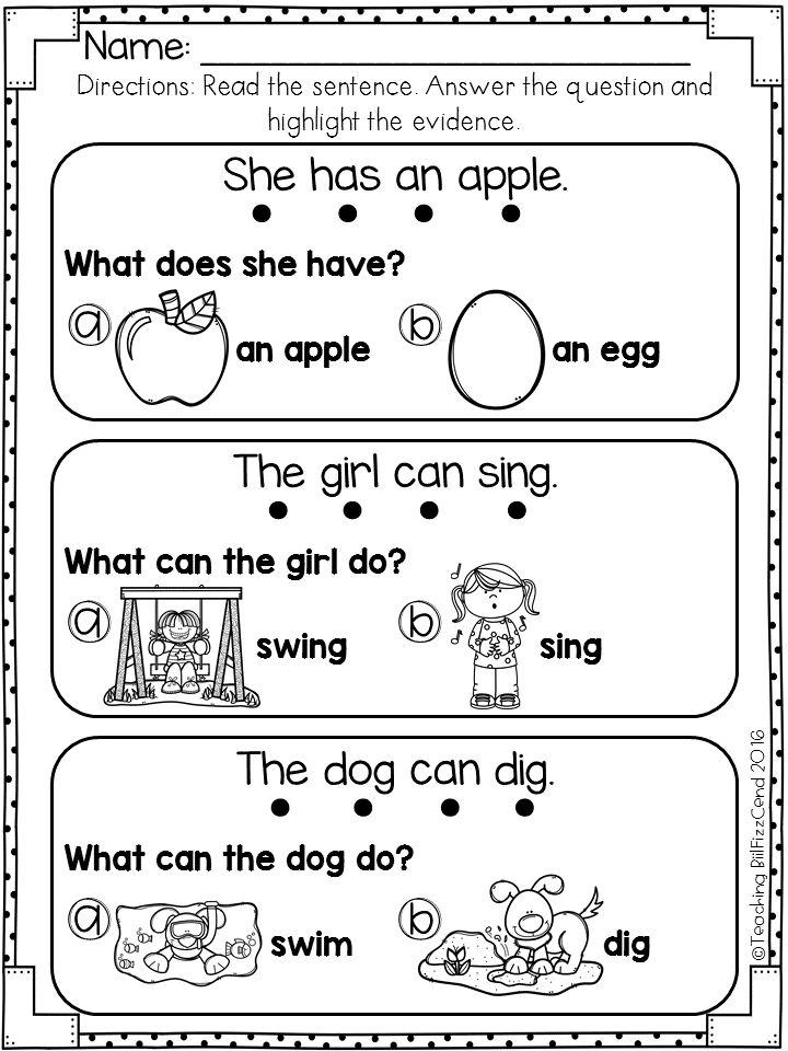 Early reading worksheets kindergarten