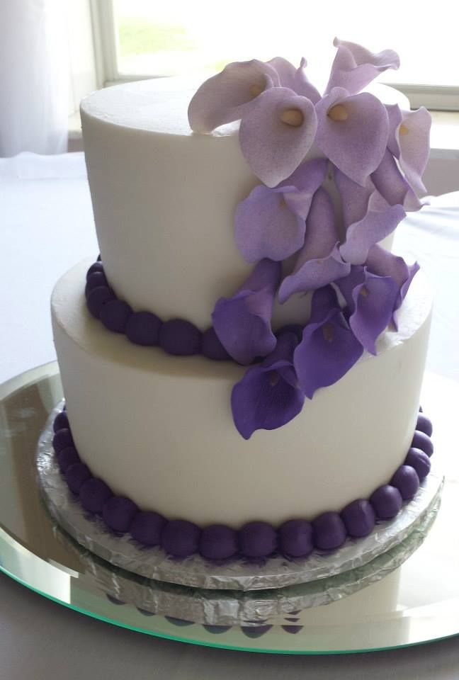 Two Tier Wedding Cake with Purple Lily's by Tasty Layers Custom Cakes