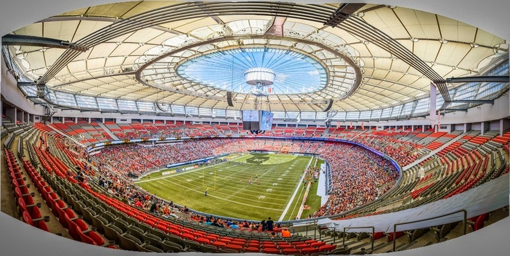 I went to the BC Lions vs Montreal Alouettes CFL football game yesterday. It was also my first time to the upgraded BC Place Stadium, and since it was a nice day the new roof was open. I wandered up to the top of the second deck and my wide angle lens still wasn't wide enough. This is a panorama created by stitching together a few images, which is why the corners are grey. Next time I'll take more shots.     http://photokaz.com/2012/09/cfl-football-bc-lions-vs-montreal-alouettes-sept-8-2012/