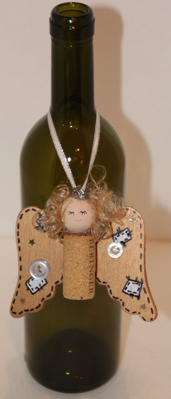 Angel Ornament Recycle Wine Cork Or Bottle Necklace Christmas