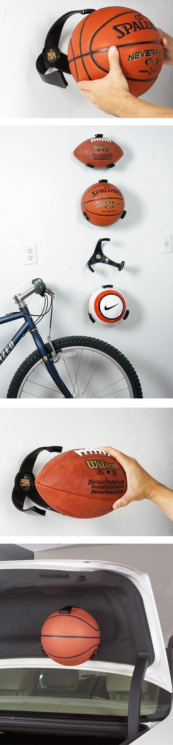 The Ball Claw. Mounts basketballs, soccer, even footballs to the wall. Great way to make use of a closet wall!