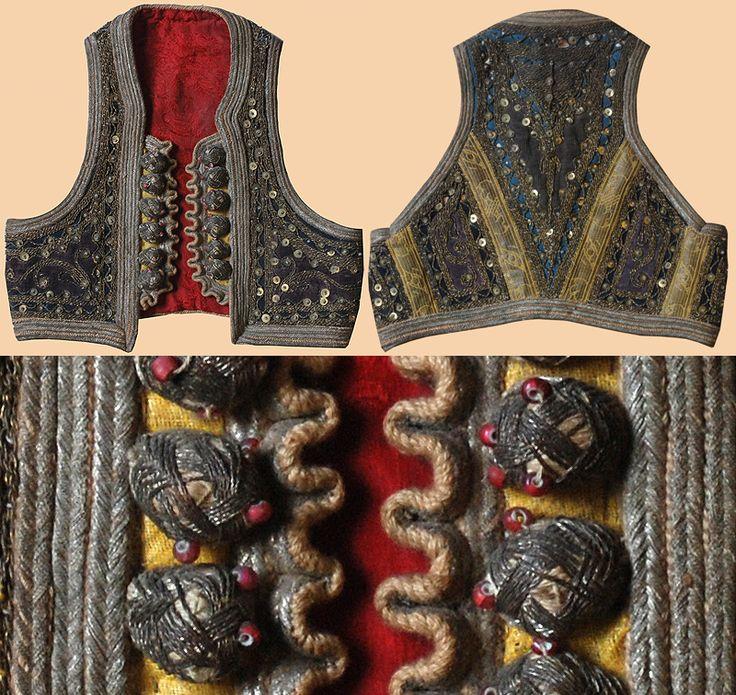 Antique Ottomen Vest. Antique Turkish Velvet Vest Silver Embroidery on Silk…