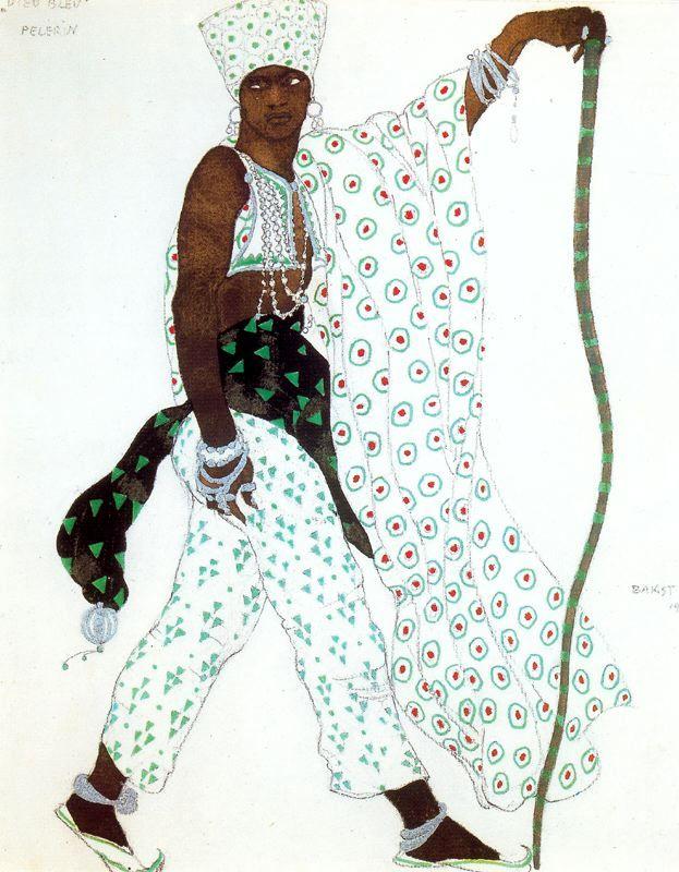 léon samoilovitch bakst(1866–1924), design for the costume of a pilgrim, 1911. pencil, watercolor, gouache and silver paint (laid down). 28.2 x 22.8 cm. thyssen-bornemisza collection. lugano, switzerland