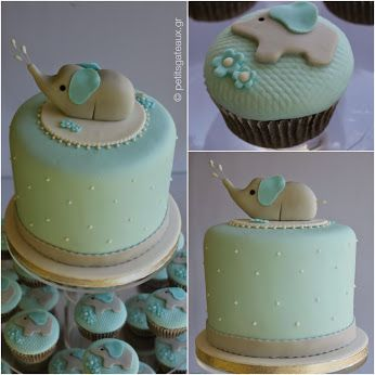 Baby elephant themed birthday cake and cupcakes!