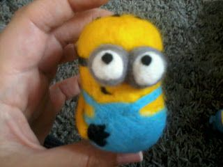 Needle Felt, needle felting, needle felted, Despicable me, Minion. Kids cartoon character, handmade crafts.