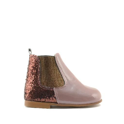 Kinderschoen online Eli korte laars Korte laars in lak roze en glitter bruin
