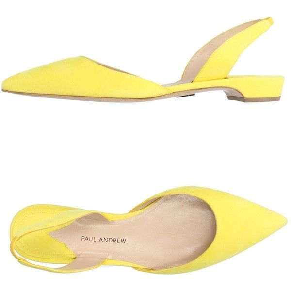 Paul Andrew Ballet Flats (£334) ❤ liked on Polyvore featuring shoes, flats, yellow, ballet shoes, leather flats, animal flats, leather sole flats and yellow flats