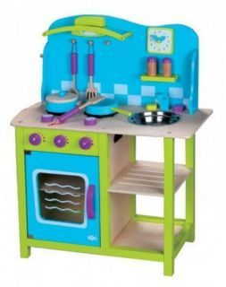 Kuchnia z akcesoriami. Zabawki drewniane.