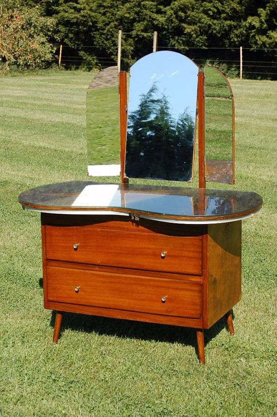 1960s Vintage Retro Kidney Shaped Dressing Table with Mirrors & Glass Top